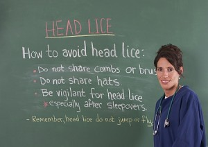 School nurse and head lice