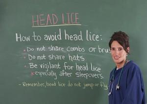 School nurse and head lice