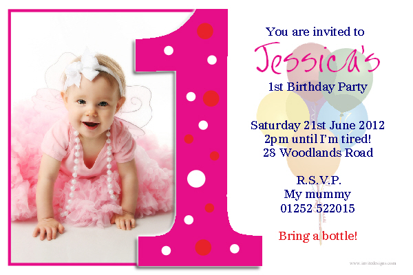 1st Birthday Party Ideas Starsricha – Baby Girl First Birthday Party Invitations