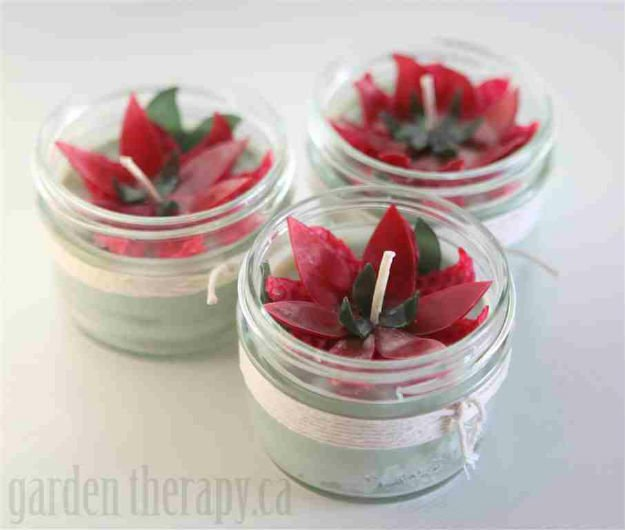 Beeswax Poinsettia Candles