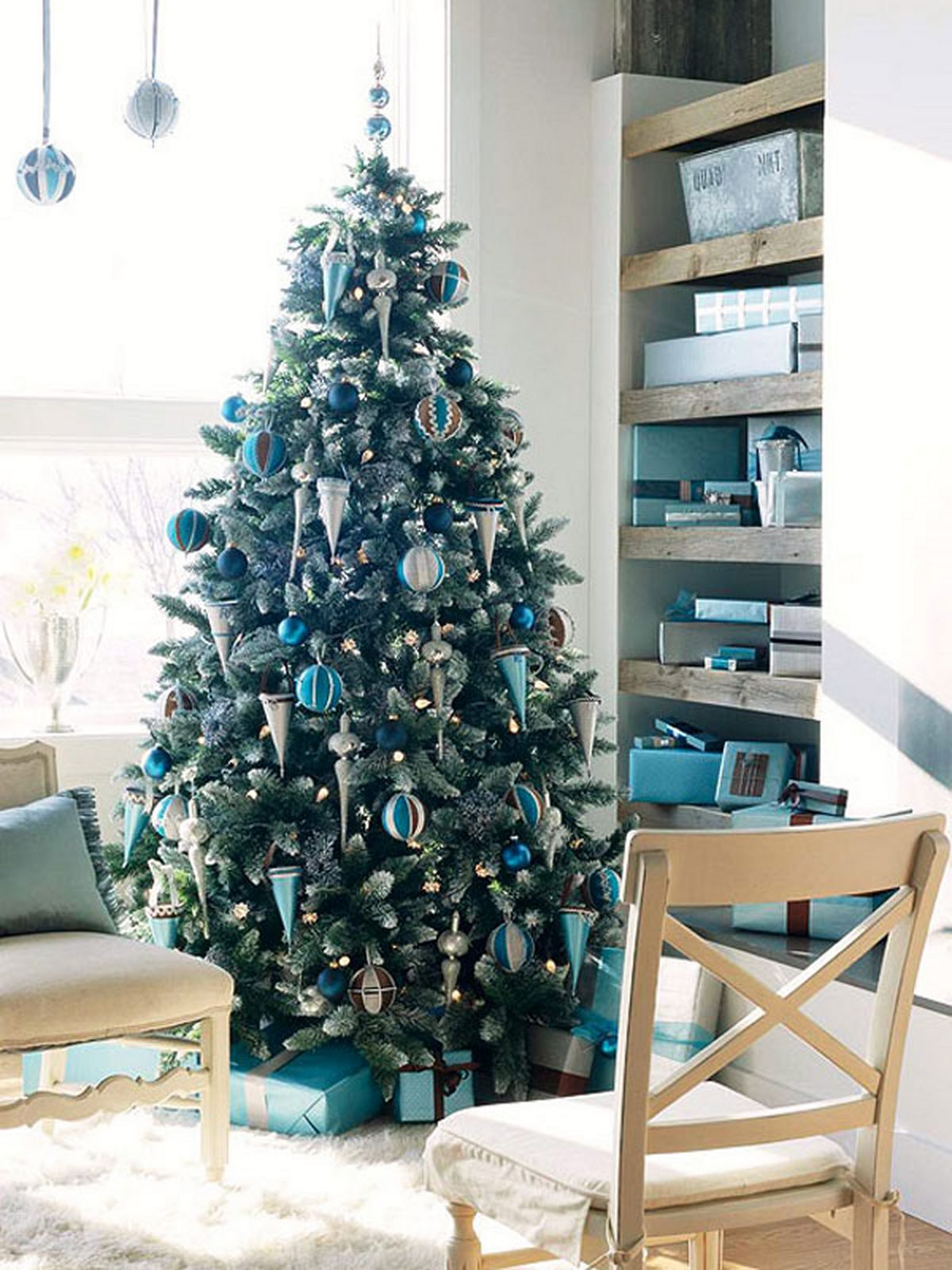 Blue And Green Christmas Tree For Living Room
