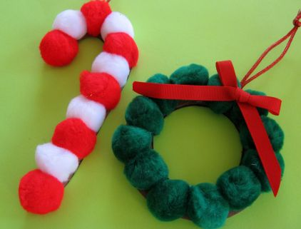 Candy Cane And Holly Ornaments