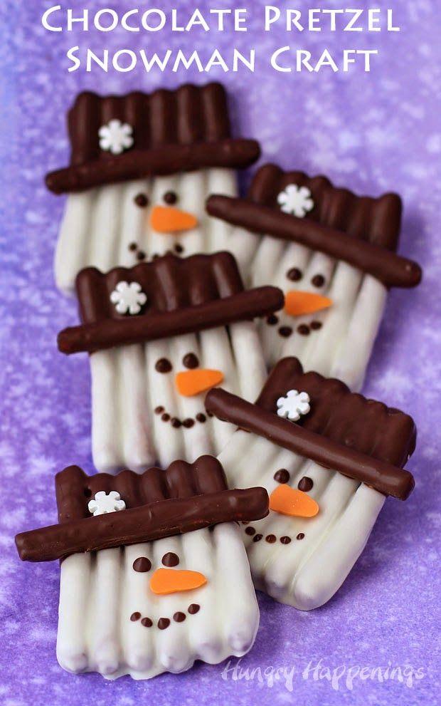Chocolate Pretzel Snowman