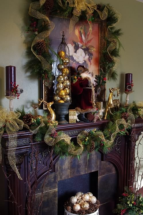 Christmas In Woodland Fireplace Mantel