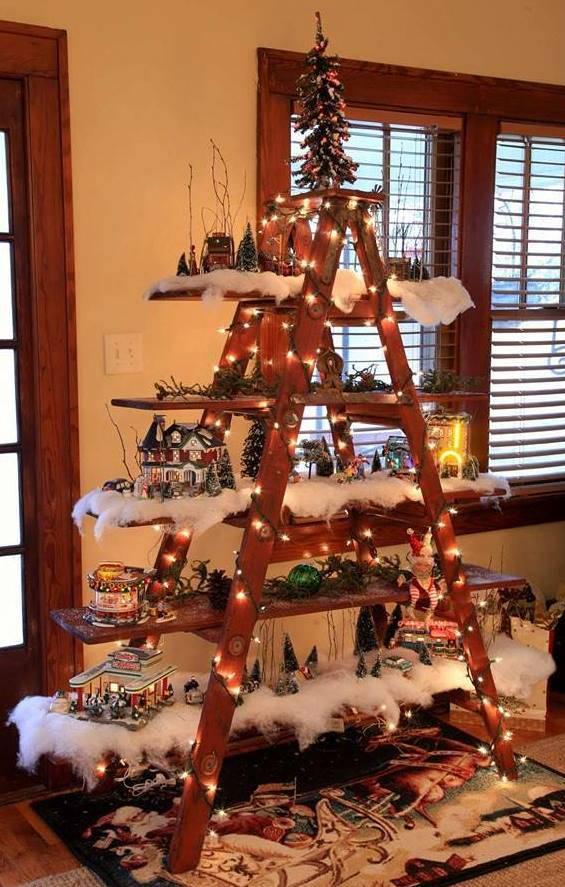 Christmas-Tree-Decorating-Idea-Ladder-Display Shelf
