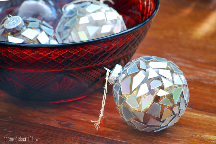 DIY CD Christmas Mosaic Ornaments