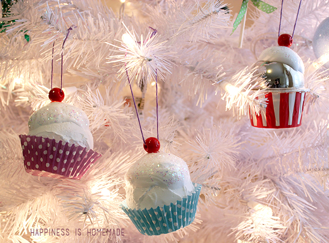 DIY Cupcake Ornaments For Christmas