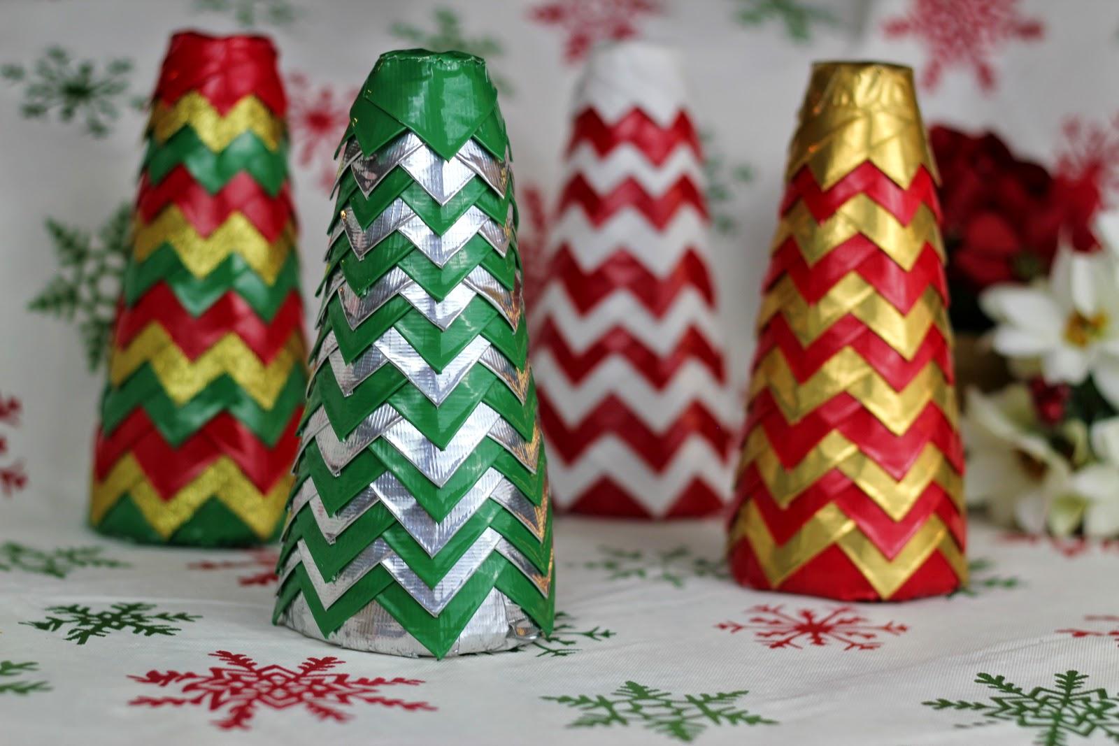 Duct Tape Chevron Christmas Trees