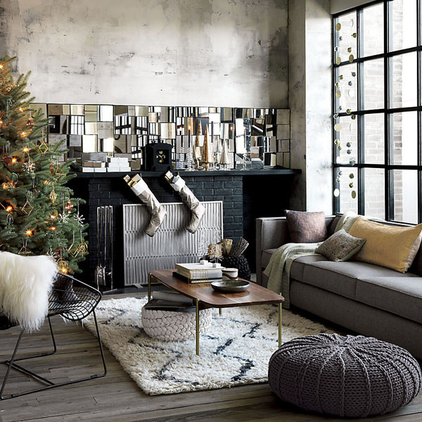 Modern Black And White Christmas Living Room