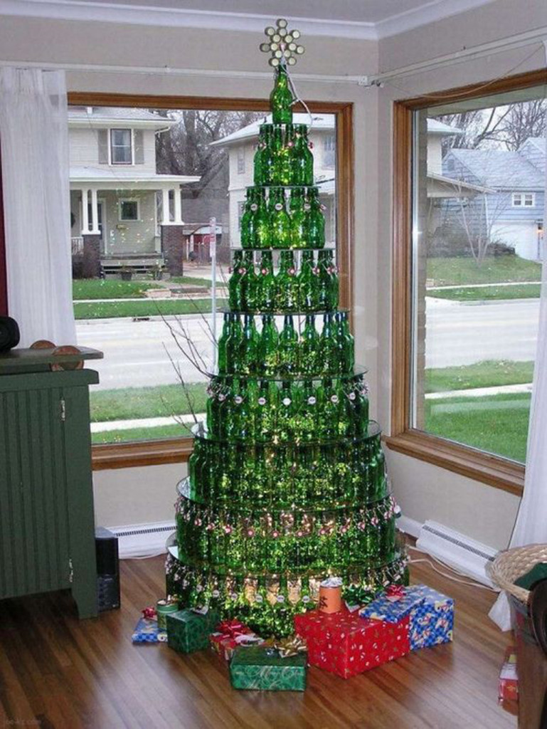 Modern Christmas Living Room With Bottles