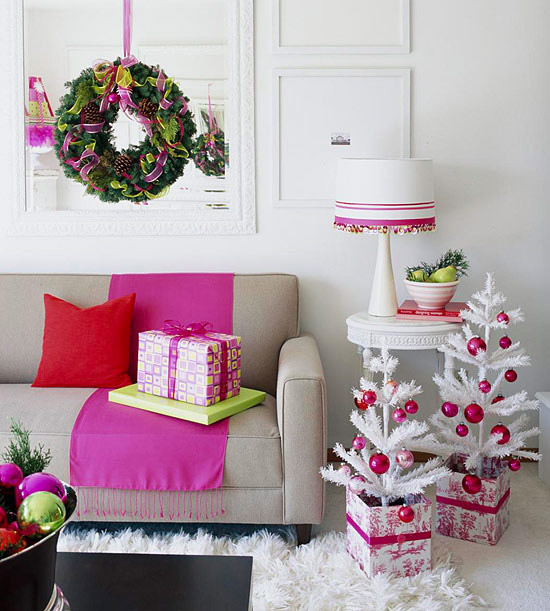 Modern Pink, White And Black Christmas Living Room