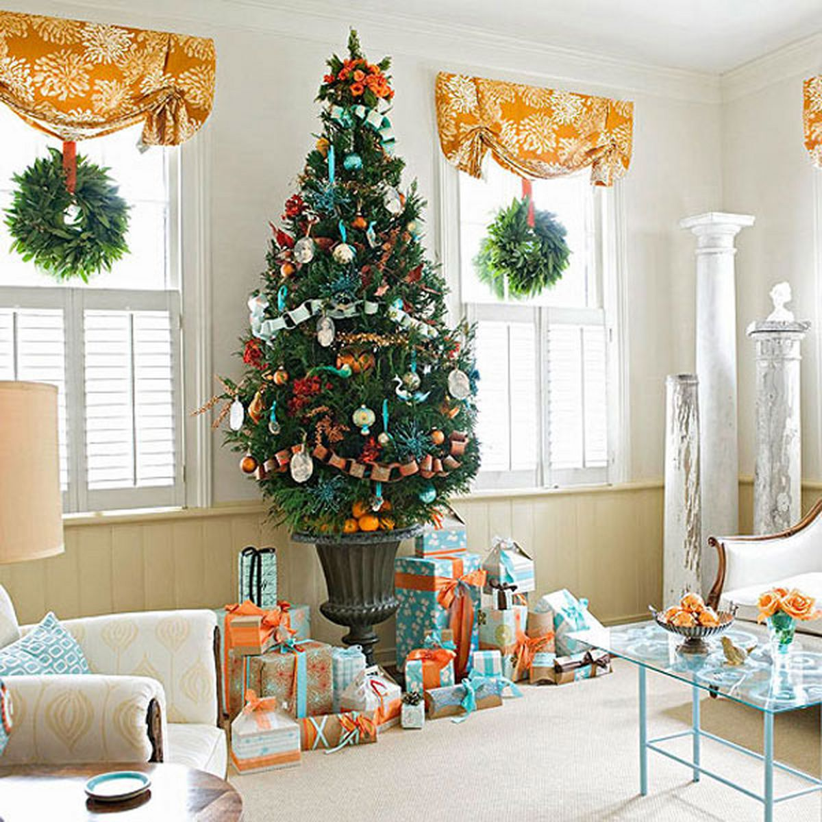 Orangey Christmas Living Room