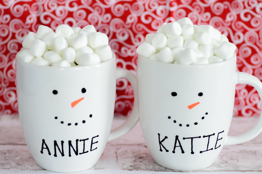 Personalized Snowman Milk Mugs
