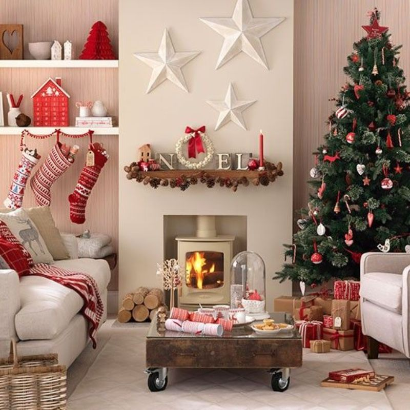 Red And White Christmas Living Room