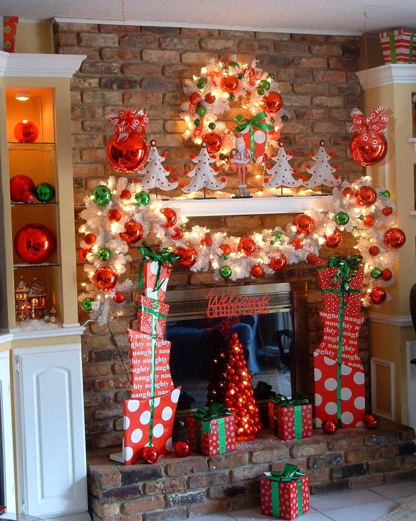 Red And White Mantel Fireplace Decorations