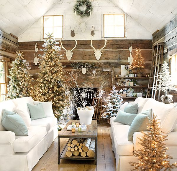 Spectacular White Christmas Living Room Dcor