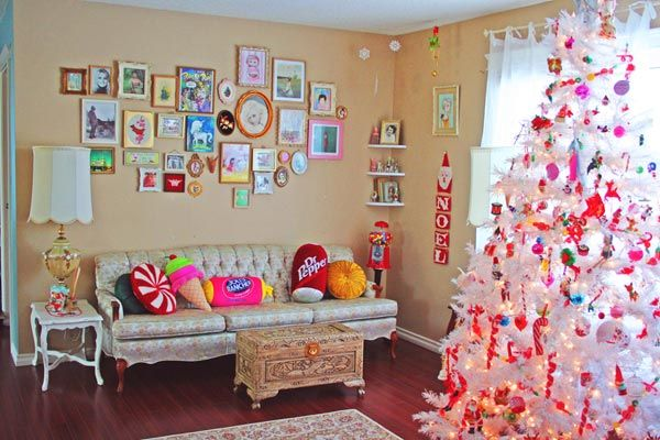 Wall Paper Christmas Living Room Décor